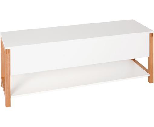 Panca Northgate Flip, Cornice: legno di quercia, Bianco, Larg. 120 x Alt. 48 cm