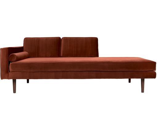 Chaise longue in velluto rosso ruggine Wind, Rivestimento: velluto di poliestere 45., Piedini: legno di quercia vernicia, Sottostruttura: truciolato, Velluto rosso ruggine, Larg. 200 x Alt. 74 cm