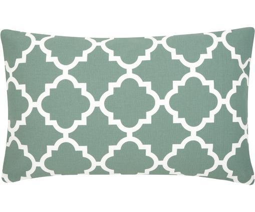 Federa arredo  Lana, 100% cotone, Verde salvia, bianco, Larg. 30 x Lung. 50 cm