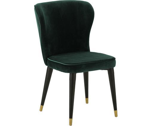 Klassischer Samt-Polsterstuhl Cleo, Bezug: Samt (Polyester) 50.000 S, Beine: Metall, lackiert, Dunkelgrün, B 51 x T 62 cm