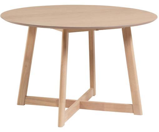 Table ronde avec placage en bois de chêne Maryse, Blanc
