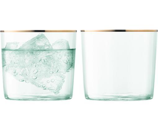 Vasos de agua de vidrio soplado Sorbet, 2uds., Vidrio, Verde, dorado, Ø 8 x Al 7 cm