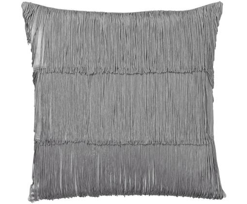 Federa arredo in velluto Annie, Frange: 100% viscosa, Grigio argento, Larg. 50 x Lung. 50 cm