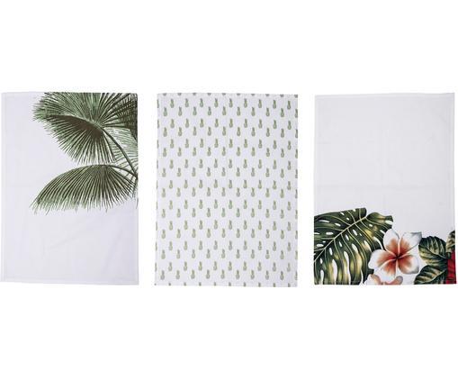 Canovaccio con motivi tropicale Aruba, set di 3, Cotone, Bianco crema, verde, Larg. 50 x Lung. 70 cm