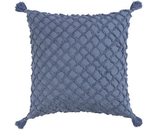 Poszewka na poduszkę z wypukłym wzorem Royal, Bawełna, Niebieski, S 45 x D 45 cm