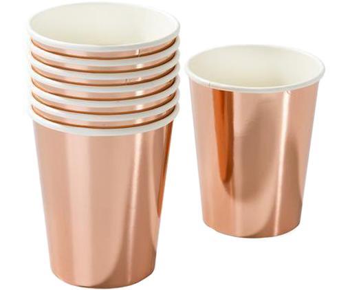 Vasos de papel Party, 8uds., Papel, foliert, Rosa dorado, blanco, Ø 8 x Al 13 cm