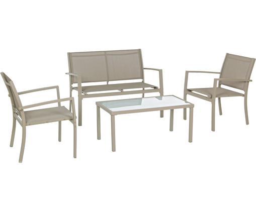 Komplet mebli ogrodowych Trent, 4 elem., Stelaż: aluminium malowane proszk, Taupe, Różne rozmiary