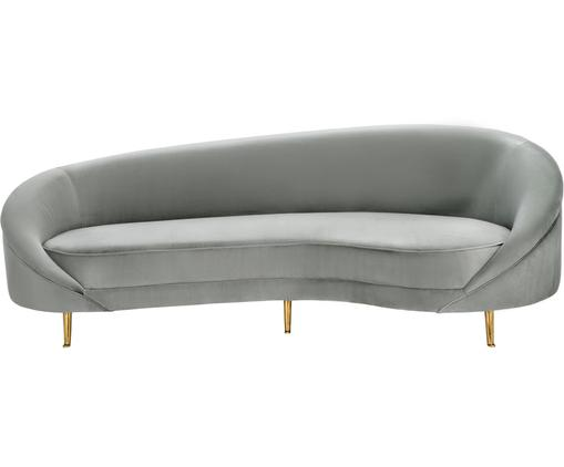Samt-Nierensofa Gatsby (3-Sitzer), Bezug: Samt (Polyester) 25.000 S, Gestell: Massives Eukalyptusholz, Füße: Metall, galvanisiert, Samt Grau, B 245 x T 102 cm