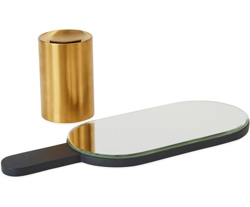 Kosmetikspiegel Renga, Spiegelfläche: Spiegelglas, Sockel: Metall, vermessingt, Anthrazit, Messingfarben, 11 x 31 cm