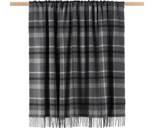 Plaid scozzese in lana vergine Square, Pura lana vergine, Grigio, grigio scuro, bianco latteo, Larg. 130 x Lung. 170 cm