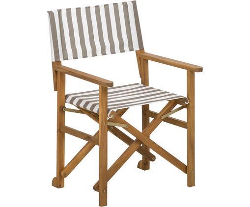 Klappbarer Regiestuhl Zoe mit Holzgestell, Gestell: Akazienholz, geölt, Beige,Weiß, B 52 x T 58 cm