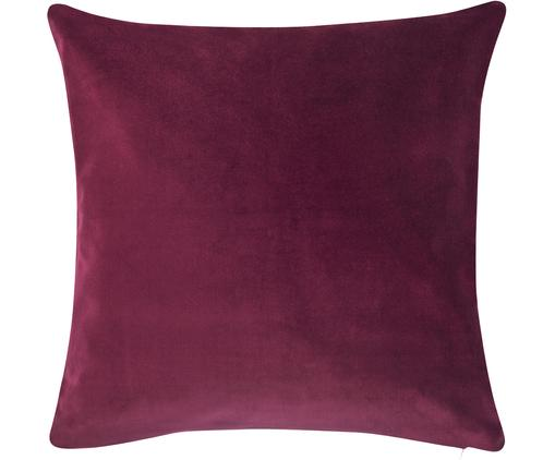 Funda de cojín de terciopelo Alyson, Terciopelo de algodón, Color vino, An 40 x L 40 cm