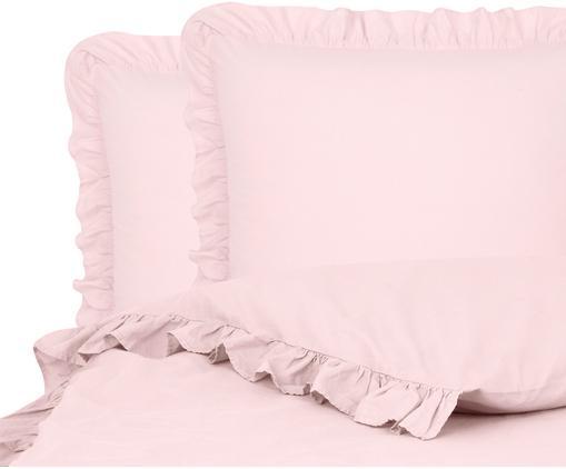 Gewaschene Baumwoll-Bettwäsche Florence mit Rüschen, Webart: Perkal Fadendichte 180 TC, Rosa, 240 x 220 cm
