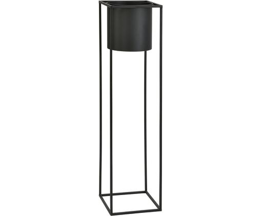 Übertopf Bragi, Metall, lackiert, Schwarz, 26 x 100 cm