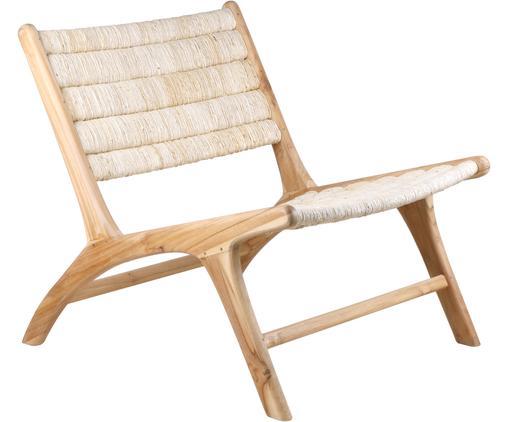Poltrona con struttura in legno di teak Abaca, Struttura: legno di teak, Beige, Larg. 65 x Prof. 75 cm