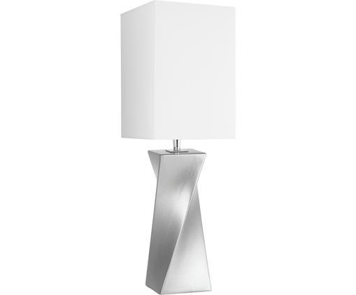 Keramik-Tischleuchte S-Twiss, Lampenschirm: Polyester, Lampenfuß: Keramik, Silber, Weiß, 17 x 52 cm