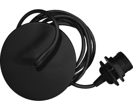 Cable con zócalo Umage, Anclaje: aluminio, Cable: tela, Negro, Ø 14 x Al 3 cm