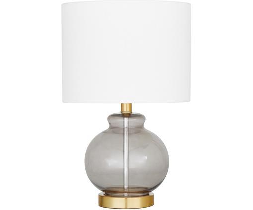 Tischleuchte Natty, Lampenschirm: Textil, Lampenfuß: Glas, Messing, gebürstet, Weiß, Blaugrau, transparent, Ø 31 x H 48 cm