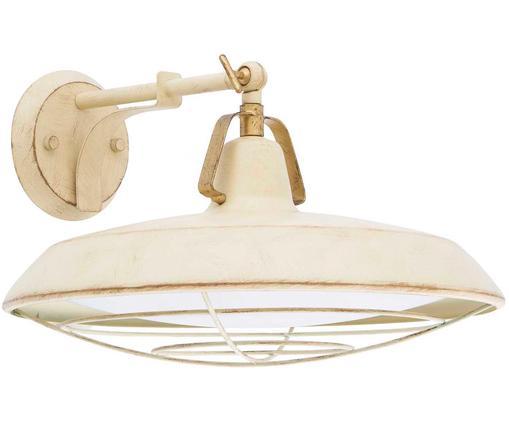 LED Außenwandleuchte Plec, Leuchte: Stahl, lackiert, Creme, 37 x 20 cm