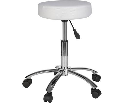 Höhenverstellbarer Bürohocker Leon mit Rollen, Bezug: Nylon, Polyamid, Gestell: Metall, verchromt, Rollen: Kunststoff, Weiß, Chrom, Ø 55 x H 60 cm