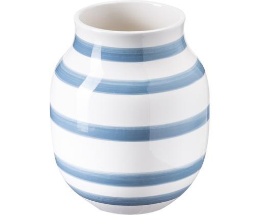 Handgefertigte Design-Vase Omaggio, medium, Keramik, Hellblau, Weiß, Ø 17 x H 20 cm