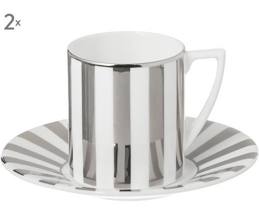 Espressotassen-Set J. Conran Platinum, 4-tlg. (2 Personen), Fine Bone China, Weiß, Grau, Silberfarben, 90 ml