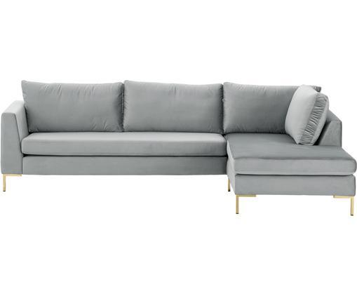 Canapé d'angle en velours Luna, Velours gris clair, or