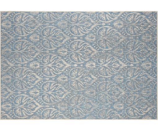 Design In- und Outdoorteppich Choy mit grafischem Muster, Polypropylen, Hellblau, Beige, B 140 x L 200 cm (Größe S)