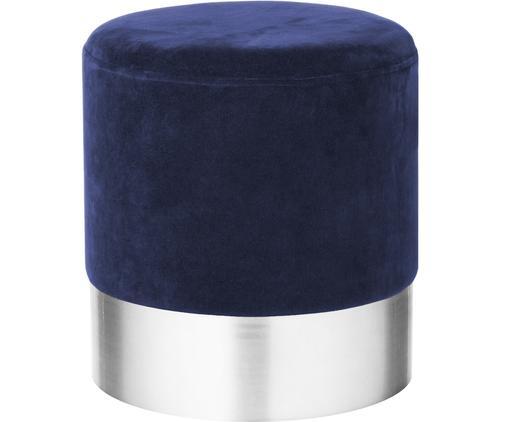 Pouf in velluto Harlow, Rivestimento: velluto, Gambe: ferro verniciato a polver, Blu navy, argento, Ø 38 x Alt. 42 cm