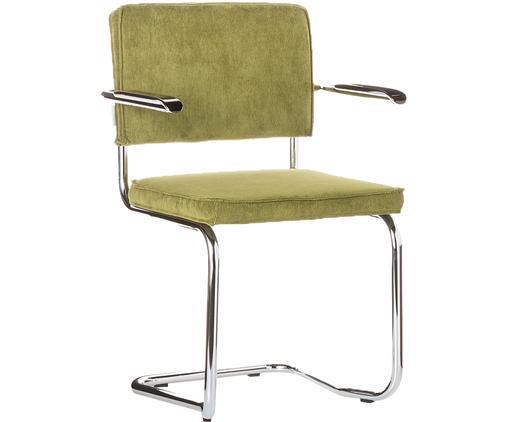 Freischwinger Ridge Kink Armchair, Bezug: 88 % Nylon, 12 % Polyeste, Gestell: Stahl, verchromt, Armlehnen: Kunststoff Der Bezug weis, Grün, 60 x 85 cm