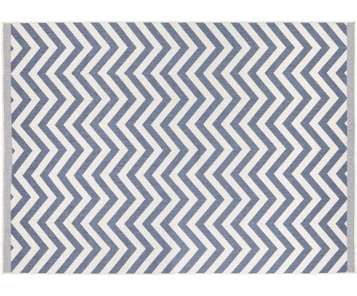 Tapis intérieur extérieur gris crème, réversible Palma, Bleu, crème