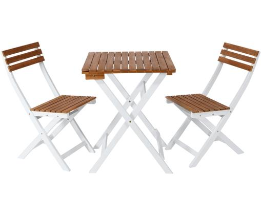 Komplet mebli balkonowych Morning Star, 3 elem., Drewno akacjowe, lakierowane, Drewno akacjowe, biały, Różne rozmiary