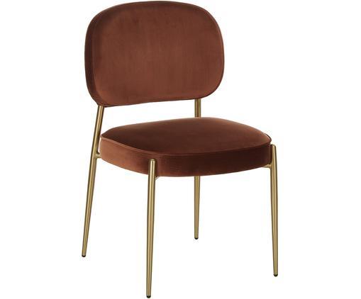 Samt-Polsterstuhl Viggo, Bezug: Samt (Polyester) 50.000 S, Samt Braun, Beine Gold, B 49 x T 66 cm
