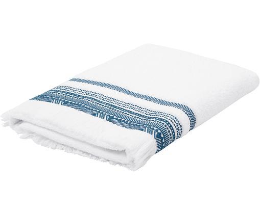 Asciugamano con bordo ricamato Brina, 94% cotone, 6% poliestere qualità media, 500g/m², Bianco/blu, Telo bagno