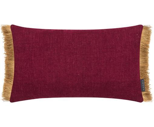 Kissenhülle Anouk in Weinrot mit goldenen Fransen, 85%Polyester, 15%Leinen, Kissenhülle: Weinrot Fransen: Goldbraun, 30 x 50 cm