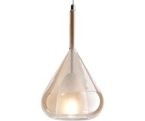 Lampada a sospensione in vetro Lilla, Paralume: vetro, Baldacchino: metallo rivestito, Ambra, Ø 20 x Alt. 35 cm