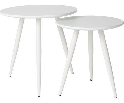 Set 2 tavolini rotondi Daven, Piano d'appoggio: Pannello di fibra a media, Gambe: metallo verniciato a polv, Bianco, Diverse dimensioni