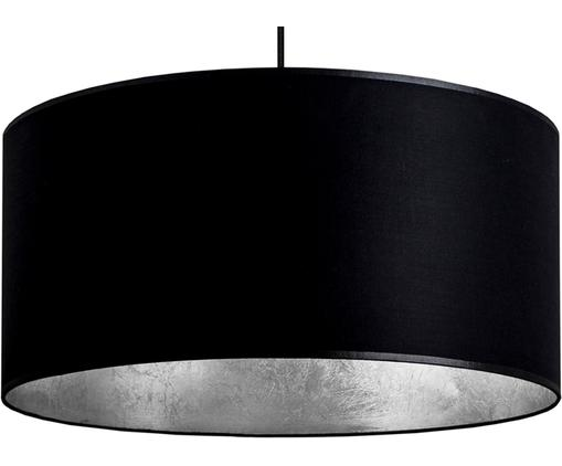 Lámpara de techo Mika, Pantalla: algodón, recubierto, Cable: cubierto en tela, Anclaje: acero,pintura en polvo, Negro, plata, Ø 50 x Al 25 cm