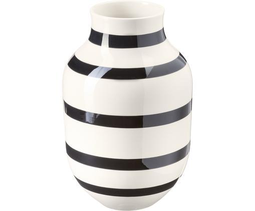 Duży ręcznie wykonany wazon Omaggio, Ceramika, Czarny, biały, Ø 20 x W 31 cm
