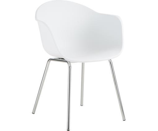 Kunststoff-Armlehnstuhl Claire mit Metallbeinen, Sitzschale: Kunststoff, Beine: Metall, galvanisiert, Weiß, Silber, B 61 x T 58 cm