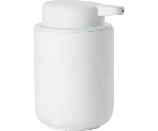 Dispenser sapone in terracotta Ume, Contenitore: terracotta rivestita con , Bianco opaco, Ø 8 x Alt. 13 cm