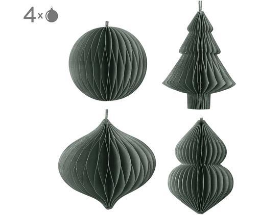Baumanhänger-Set Christmas Mix, 4-tlg., Papier, Dunkelgrün, Ø 9 x H 10 cm