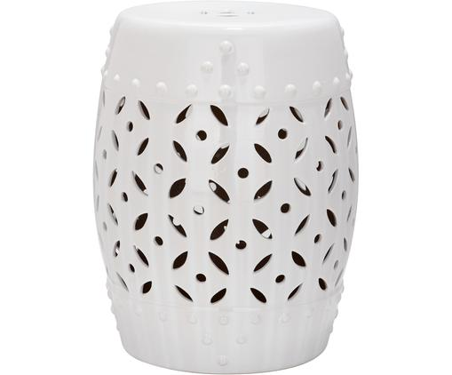 Tabouret/Table d'appoint fait main Philine, Blanc