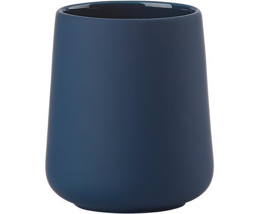 Kubek na szczoteczki z porcelany Nova One, Kamionka, Niebieski royal, Ø 8 x W 10 cm