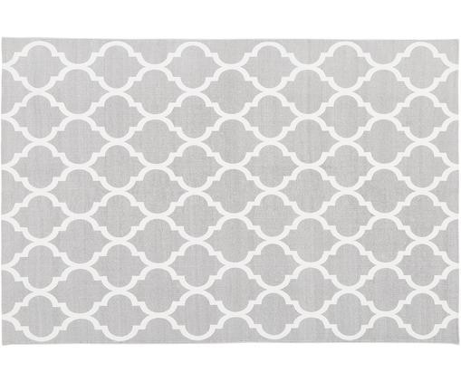 Tappeto in cotone tessuto a mano Amira, Cotone, Grigio chiaro, bianco crema, Larg. 120 x Lung. 180 cm (taglia S)
