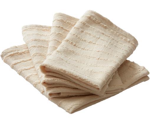 Baumwoll-Servietten Loveli, 4 Stück, Baumwolle, Beige, 42 x 42 cm