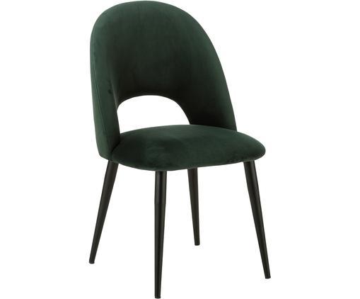 Chaise rembourrée en velours Rachel, Velours vert foncé