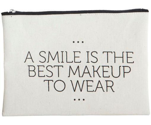 Neceser Smile, 38%algodón, 40%poliéster, 22%rayón, Blanco, negro, An 21 x Al 15 cm