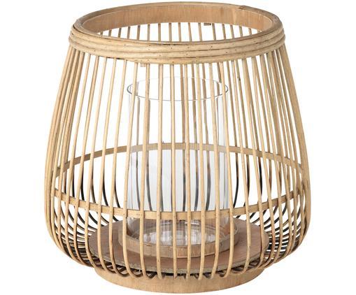 Windlicht Caits, Windlicht: Bambus, Windlicht: Hellbraun<br>Zylinder: Transparent, Ø 31 x H 29 cm