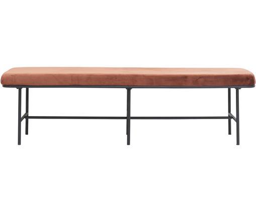 Samt-Sitzbank Comma, Bezug: Polyestersamt, Gestell: Stahl, pulverbeschichtet, Rostbraun, 160 x 46 cm